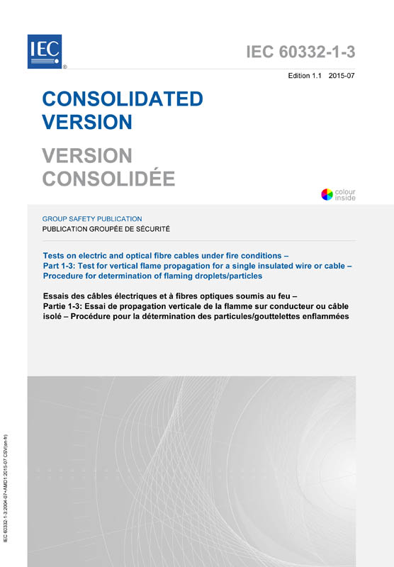 Cover IEC 60332-1-3:2004+AMD1:2015 CSV (Consolidated Version)
