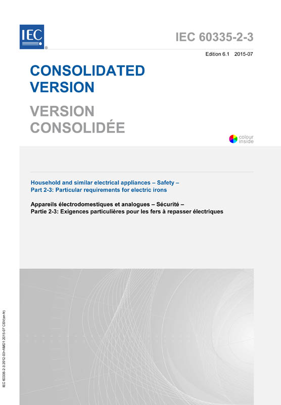 Cover IEC 60335-2-3:2012+AMD1:2015 CSV (Consolidated Version)