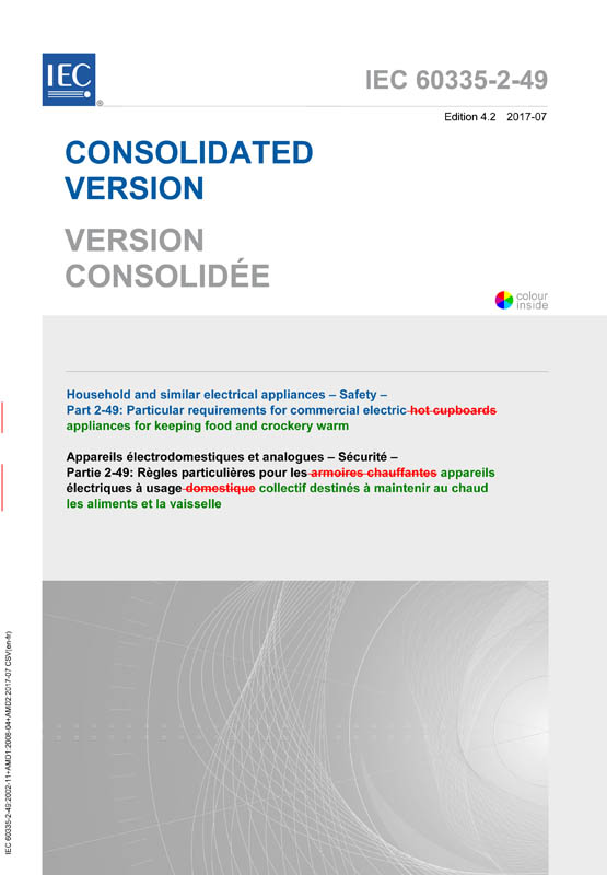 Cover IEC 60335-2-49:2002+AMD1:2008+AMD2:2017 CSV (Consolidated Version)