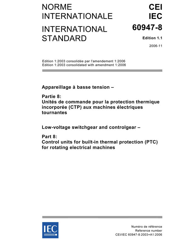 Cover IEC 60947-8:2003+AMD1:2006 CSV (Consolidated Version)